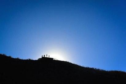Reaching the peak of Diamond Head Crater