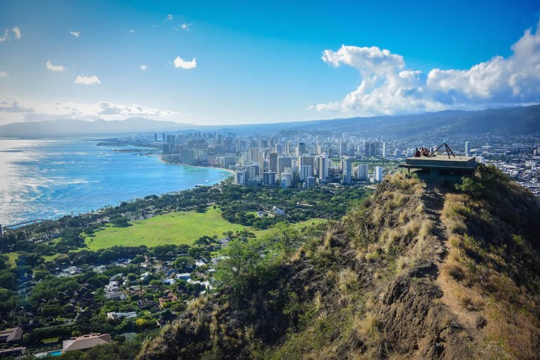 Honolulu from Diamond Head Crater, Honolulu, Hawaii, USA
