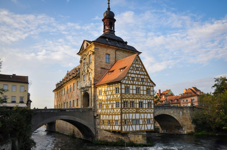 Old Town Hall of Bamberg in sunset